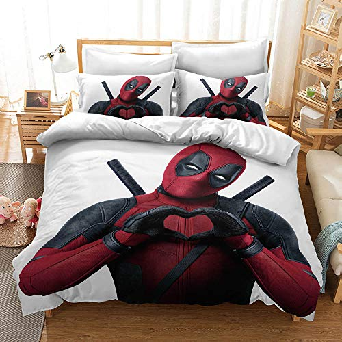 Meiju Microfiber Duvet Cover Set, 3D Movie Character Pattern Bedding Set for Single Double King Size Easy Care Bed Quilt Covers with Pillowcases (135x200cm-2pcs,Deadpool C)