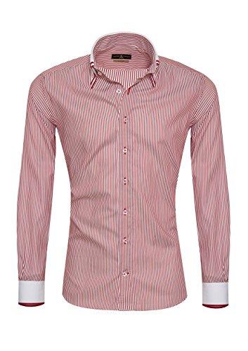 Giorgio Capone Herrenhemd, 100% Baumwolle, weiß-rot gestreift, Doppelkragen, Langarm, Slim & Regular Fit (XL Slim)
