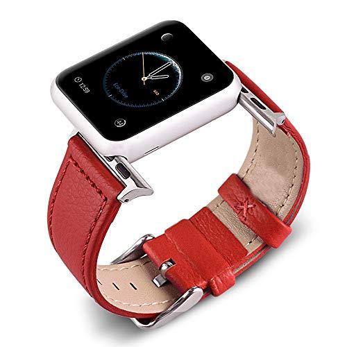 HMXA Correa De Reloj De Cuero De 3 Colores for Apple Watch Band Series 5/3/2/1 Correa Deportiva 42mm 38mm Correa for Iwatch 4 Band (Band Color : Red, Band Width : 38mm)