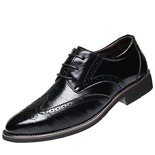 Dorical Lederschuhe Herren,Männer Business Schuhe Hochzeit Schnürhalbschuhe Elegant Oxford Anzug Leder Derby Männer Lackleder Kunstlederschuhe Schwarz Brown 37-48 Sale(schwarz,45)
