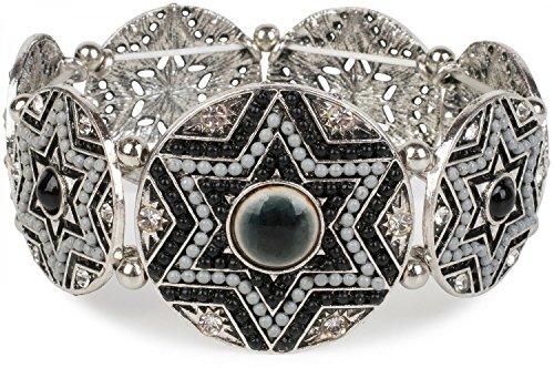 styleBREAKER Stern Form Gummizug Armband mit Perlen und Strass besetzten Amuletten, Boho Style, Damen 05040059, Farbe:Schwarz-Grau