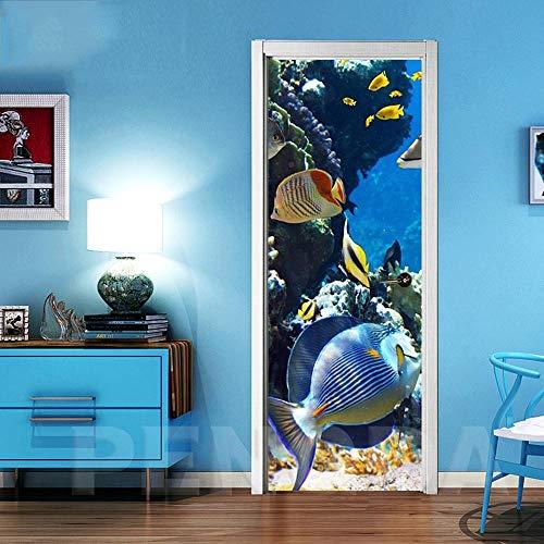JYXJJKK 3D Türaufkleber Unterwasserwelt farbige Fische 3D Aufkleber Türtapete Wandbild Selbstklebend PVC Wasserdicht Abnehmbar Türfolie TürPoster Fototapete Wohnzimmer Schlafzimmer Haus Dekoration 88X