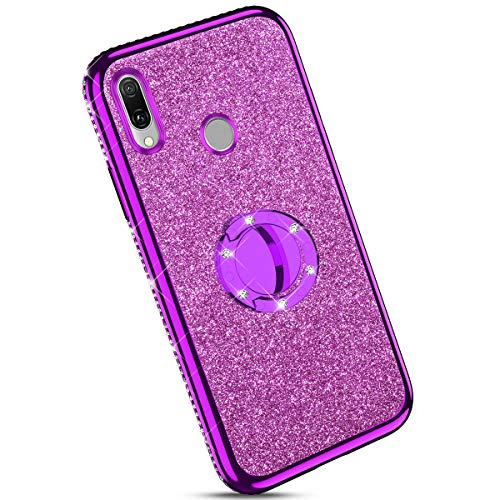 Ysimee Coque Compatible pour Huawei Y9 2019/Enjoy 9 Plus Paillette Glitter Silicone TPU Etui Con Support Bague Strass Bling Couleur Placage Gel Case pour Fille/Femme Anti Choc Mince Housse,Violet