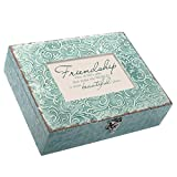 Cottage Garden Friendship Beautiful World Embossed Teal Filigree Music Box Plays You Light Up My Life