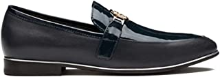 OPP Designer Men's Smooth Leather Slip on Metal Bit Detail Low Heel Loafer Shoes