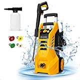 Pressure Washer, MOOSOO Electric Pressure Washer 2.3 GPM Power Washer 1800W High Power Washer Cleaner Machine with 4 Nozzles, Foam Cannon, Best for Cleaning Homes/Cars/Driveways/Fences/Patios