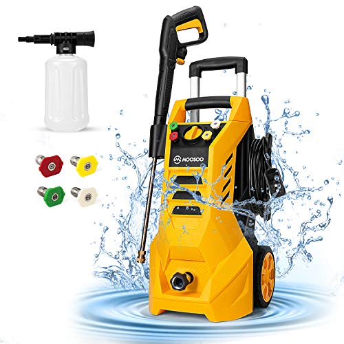 Pressure Washer, MOOSOO 3000PSI Electric Pressure Washer 2.3 GPM Power Washer 1800W High Power Washer Cleaner Machine with 4 Nozzles, Foam Cannon, Best for Cleaning Homes/Cars/Driveways/Fences/Patios