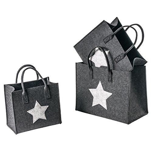 LAFiore24- 3er Filztaschen Set mit Sternenmotiv Einkaufskorb Shoppingtaschen Zeitschriften Organizer Aufbewahrungshelfer Deko Handtasche Einkaufstasche Holzkörbe Magazinhalter (dunkelgrau)