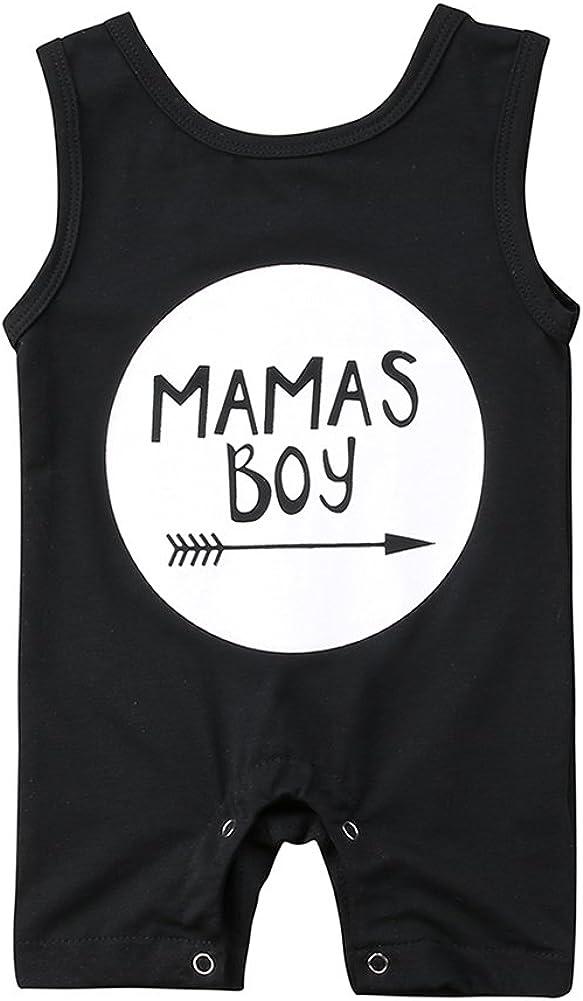 Newborn Baby Boys Sleeveless Mama's We OFFer at cheap prices Romper Pl Boy Black Jumpsuit San Jose Mall