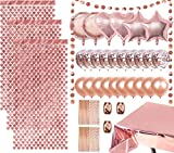 Decoraciones de fiesta de oro rosa, incluye 3 cortinas de papel metalizado de corazón, 1 mantel de papel de aluminio, 26 globos, 50 pajitas de papel para cumpleaños, bodas, Navidad