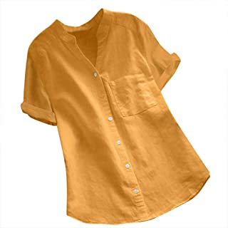 Jofemuho Mens Stand Collar Fashion Linen Pure Color Roll Sleeve Shirts