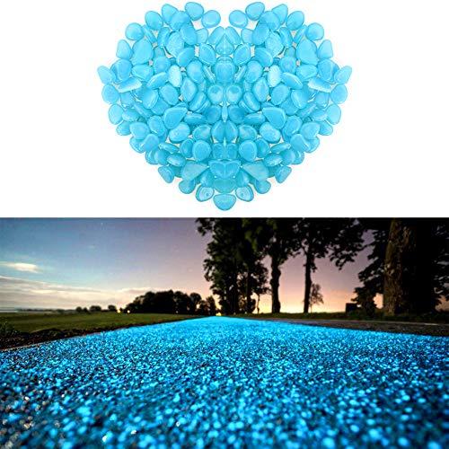 Wiewish 100er Leuchtsteine, Leuchtende Kieselsteine künstliche Dekostein Floureszierende Pebble für Aquarium, Garten, Gehweg, Dekoration.