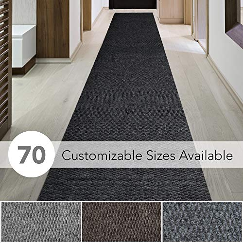 iCustomRug Spartan Weather Warrior Duty Indoor/Outdoor Utility Berber Loop Carpet Runner, Area Rugs, 3ft,4ft,6ft Widths 70 Custom Sizes with Natural Non-Slip Rubber Backing 4' X 9' in Black