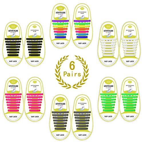 HYFAM Elastische Schnürsenkel für Kinder Keine Krawatte Schnürsenkel Wasserdicht Stretchy Silikon Tieless Schnürsenkel für Turnschuhe Board Schuhe Freizeitschuhe