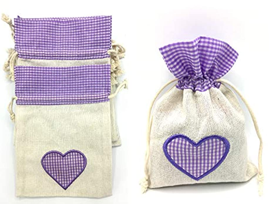 TSOTU Burlap Gift Bags with Drawstring for Wedding Birthday Shower Party Favor,Kids Arts Crafts Jewlery Burlap Sack,Cotton Candy Bags 12packs Bulk (5.1x7inch) (Burlap+ Embroided Purple Heart Shape)