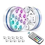 Luz subacuática, 13 luces LED de mesa con imán, ventosa, control remoto inalámbrico con temporizador, funciona con pilas, decoración para acuario, piscina (paquete de 2)