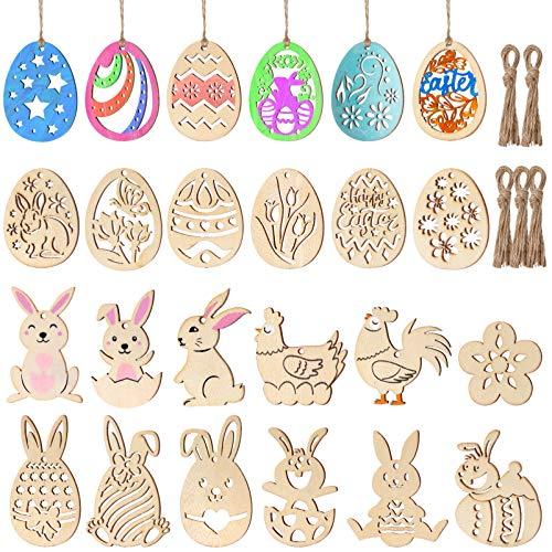 STOBOK 48 pezzi in legno imcompleto decorazione pasquale coniglio da appendere dischi di legno fai da te per bambini Pasqua decorazione