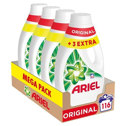 Ariel Detergente Lavadora Líquido, 116 Lavados (Pack 4 x 29), Original