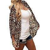 WUSIKY Damen Hemd Chiffon Leopard Print Mantel Kimono Lose Halbe Hülse Schal Strickjacke Vertuschen Tops 2019 Mode Women Top(Large,Braun)