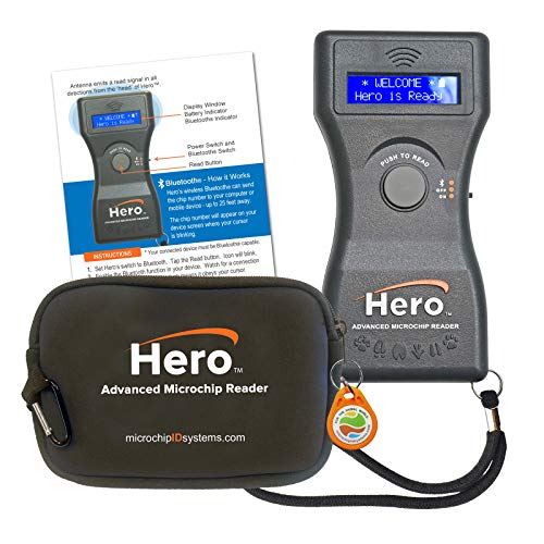 Hero Pet Microchip Reader, Bluetooth, Includes Case and Test Chip