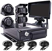 JOINLGO 4 Channel 1080P AHD Two SD 512GB Mobile Vehicle Car DVR MDVR Video Recorder Kit with IR Night Vision Waterproof Side Front Rear View Sony Camera 7 inch Car Monitor for Truck RV Van Bus