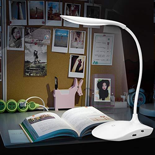 Lámpara LED de escritorio recargable por USB, con interruptor táctil, 3 modos, luz de lectura, color blanco