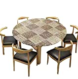 Round Fitted Vinyl Tablecloth, Flannel Backing, Elastic Edge, Waterproof Wipeable Plastic Cover (Brown, 36-42 Inch Round Tight Fit)