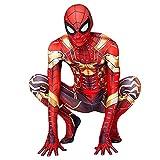 FLJLGY Niños Adultos Spiderman Cosplay Medias Siameses Vengadores Fans Disfraces Traje de Padres e Hijos Traje de Fiesta de Disfraces Ropa de cumpleaños,Gold- Kid 1X 135~145 cm