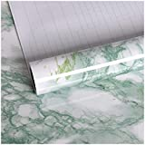 VEELIKE Vinilo Adhesivo Mármol Verde Rollo Papel Pintado Impermeable Gris Papel Pared para Forrar Muebles para Decorar Dormitorio Sala Habitación 40cm x 300cm