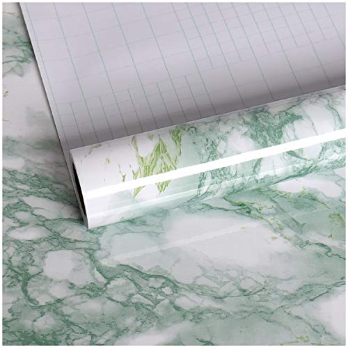 VEELIKE Green Marble Contact Paper Wallpaper Peel and Stick 15.74 x 118.11inches...