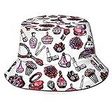 Bucket Hat Packable Reversible Maquillaje Vintage Acuarela Rosa Esmaltes de uñas Rimel Flores Girly Valentines Print Print Sun Hat Fisherman Hat Cap