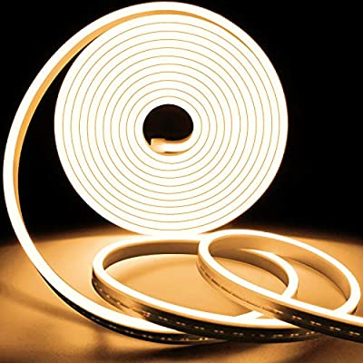 Lamomo LED Strip Lights,12V 2900K Warm White LED Rope Light,16.4 Ft/5m Dimmable Led Strip IP65 Waterproof Flexible Silicone Rope Light for Indoor Outdoor Home Decoration