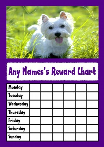 Purple West Highland Terrier Dog Star Sticker beloningskaart