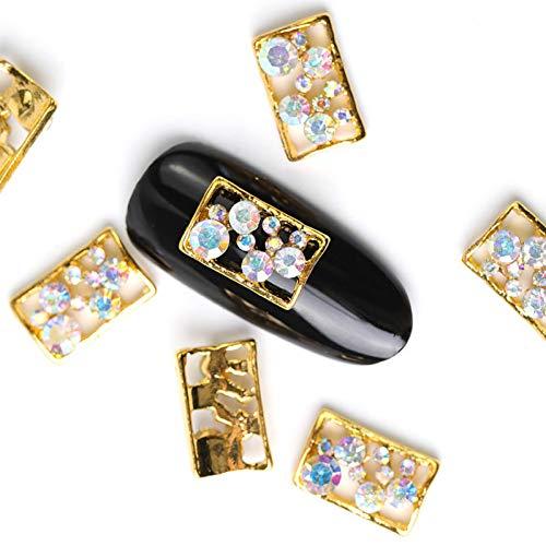 N-A 10 pièces Rectangle Cristal Brillant Perle ongle Strass Alliage Nail Art décorations Paillettes Bricolage 3D Ongles Bijoux Pendentif