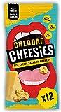 CHEESIES Snack al Formaggio - Croccanti Bocconcini di Formaggio CHEDDAR. Senza Carboidrati, ad Alto Contenuto di Proteine, Senza Glutine, Vegetariano, Keto. 12 sacchetti da 20g