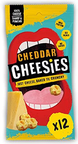 CHEESIES - Knuspriger Käse Snack. 100% Käse. Keto, Ohne Kohlenhydrate, mit hohem Proteingehalt, glutenfrei, vegetarisch. High Protein, No Carb. 12 x 20g Packungen - Geschmack: CHEDDAR