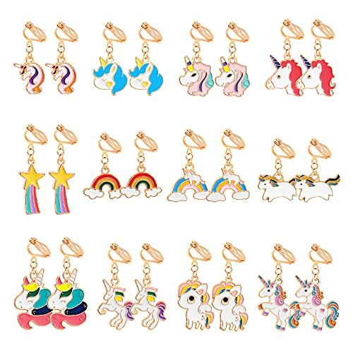HIFOT 12 Paia Orecchini clip Ragazze Bambini, Unicorno Orecchini con clip Gioielli Accessori, Principessa Dress up Pretend Play Articoli per Feste