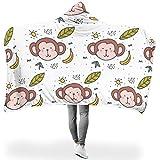 Mädchen Jungen Hooded Decke Wohndecke Cartoon AFFE Tier 3D Print Kuscheldecke Tagesdecke Kapuzendecke Extrem Warm Überwurfdecke Sofa Kuscheldecke White 150x200cm