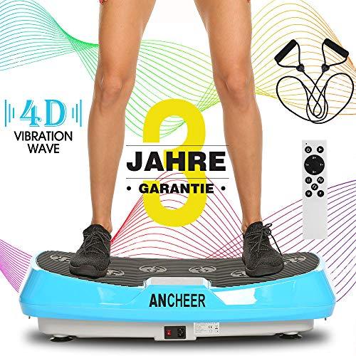 ANCHEER 4D Vibrationsplatte Slim Vibration Plate, Fitness Dual-Motor Vibrationsplatten mit Großer Rutschsicherer Fläche, Curved Design & LCD Display | Inkl. Fernbedienung, Trainingsbänder