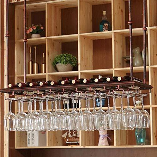 COLiJOL Soporte para Copas de Vino Tinto Estantes de Vino de Techo de Altura Ajustable Organizador de Copas de Vino de Metal Grande...