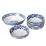 Sonemone Blue Ceramic Pasta Bowls, Marrakesh Tile Floral Bowl Set of 5 (1 unit 114oz, 4 units 35oz), for Pasta, Salad, Microwave & Dishwasher Safe