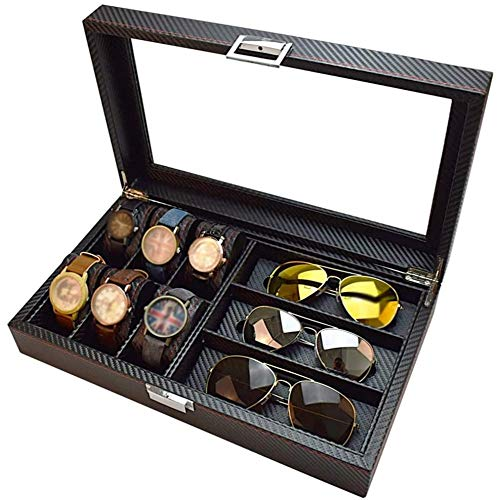 SONGTAO 6 Slot Watch Box And 3 Slot Eyeglasses Storage Carbon Fiber Combo Jewelry Case And Sunglass Glasses Display Case