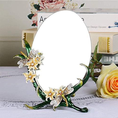 KDMB Espejo de Belleza Decorativo de Resina en Relieve 3D Espejo de tocador de Escritorio Espejo de Maquillaje portátil HD Ovalado de una Cara, Adecuado para Varias Ocasiones