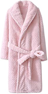 Nobrand Fashionable Kids Bath Robes Winter Children's Bathrobe Solid Color Flannel Bathgrowns for Big Boys Girls Soft Belt Pyjamas Robes   