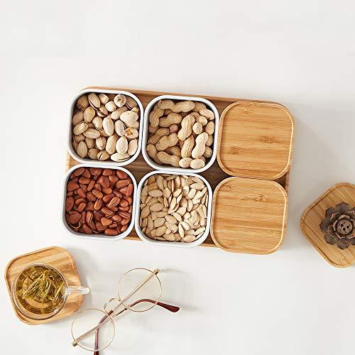 ZEN'S BAMBOO - Piatto da portata per patatine e salse, con coperchio e vassoio in bambù 6 Cell