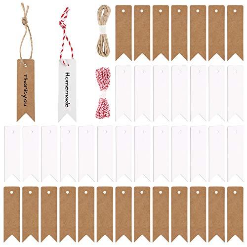 Etiquetas de etiquetas de papel Kraft 400 piezas Etiquetas de regalo para cerveza Etiquetas colgantes con cordón de yute en blanco y negro para regalos de boda para elaborar como etiquetas de precio