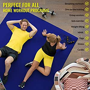 Exercise Mat 6'x6'x7mm | Large Workout Mat for Home | Durable Home Gym Flooring | Non-Slip, Thick, High Density Rubber Mats for At-home Fitness | Wide Square Size - Blue