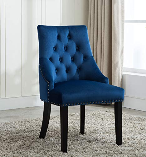 MCC® Relax Design Stuhl Victoria mit Ring, samtigem Bezug und dekorativen Nieten, in 4 angesagten Farben (Blau)