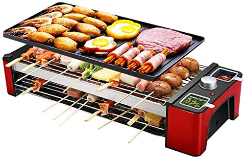AQWESD BBQ Grill Electric Grill for 2-10 Person Party with Grill Teppanyaki Machine Inside in The Multifunctional Grill Grate 1200W 43X22Cm