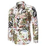 Camisas De Hombre Hombre Hawaiano Casual con Botones Camisas Salvajes De Gran TamañO Blusas De Manga Larga Estampadas Tops